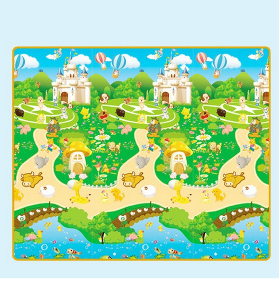 H06b2eda9982047dab4402a39c2467f96C Baby Play Mat 0.5cm Thick Foldable Crawling Mat Double Surface Baby Carpet Rug Cartoon Developing Mat for Children Game Playmat