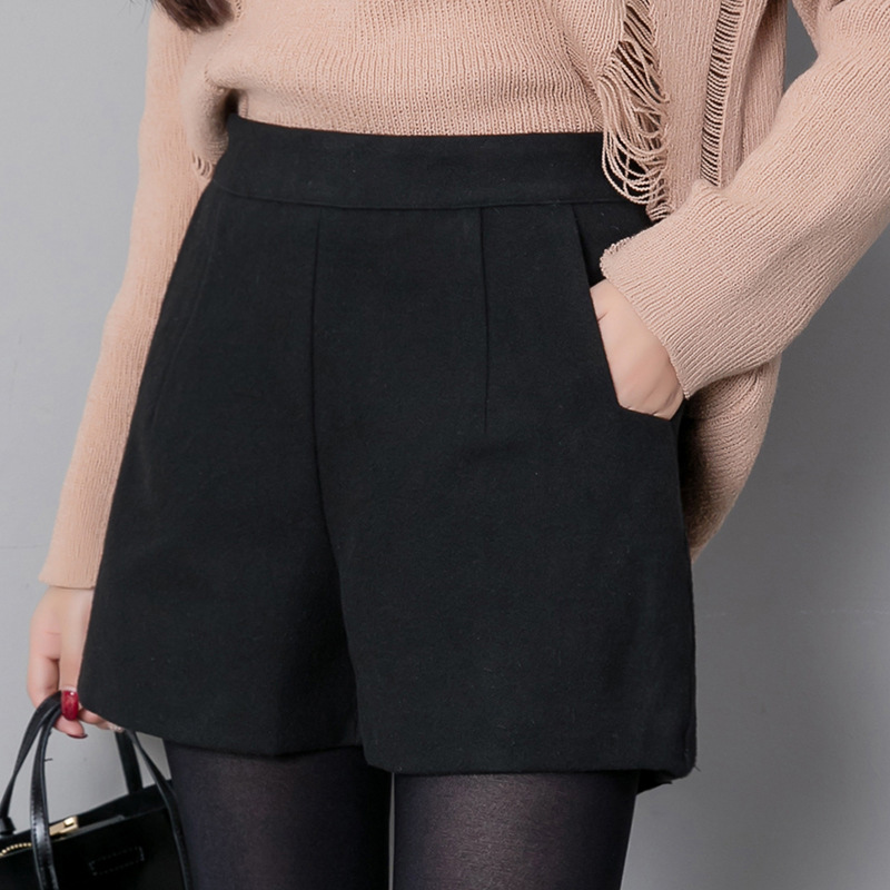 Autumn Korean Fashion Black Shorts For Women Winter Classic Basic Casual Wide Leg Short Femme Loose Zipper Woolen Shorts