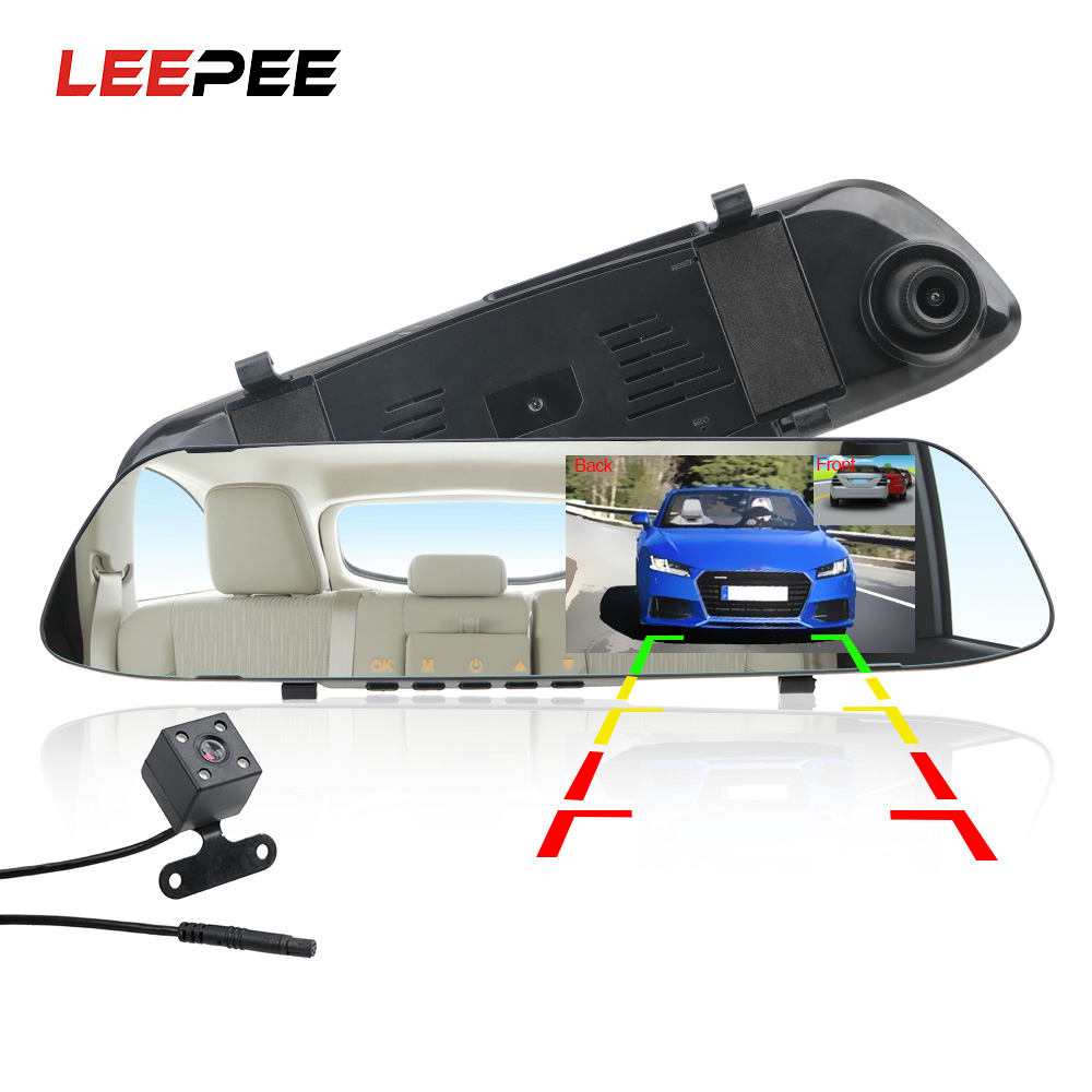 LEEPEE IPS Screen Night Vision Car DVR Dash Camera Driving Recorder Video Reversing Image Dual Channel Rearview Mirror Recorder