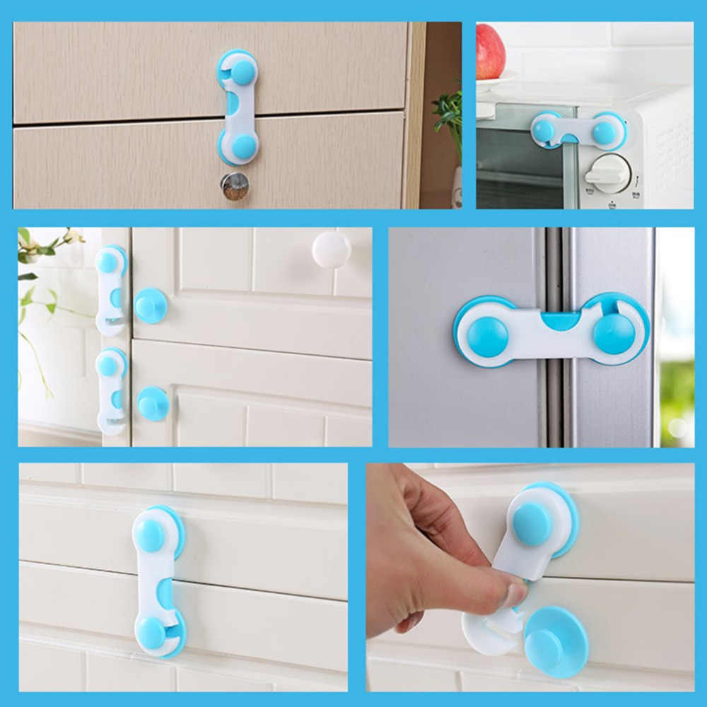 5pcs ABS Plastic Drawer Safety Lock Children Protect Care Wardrobe Cabinet Locker Supplies Pink Blue Wholesale