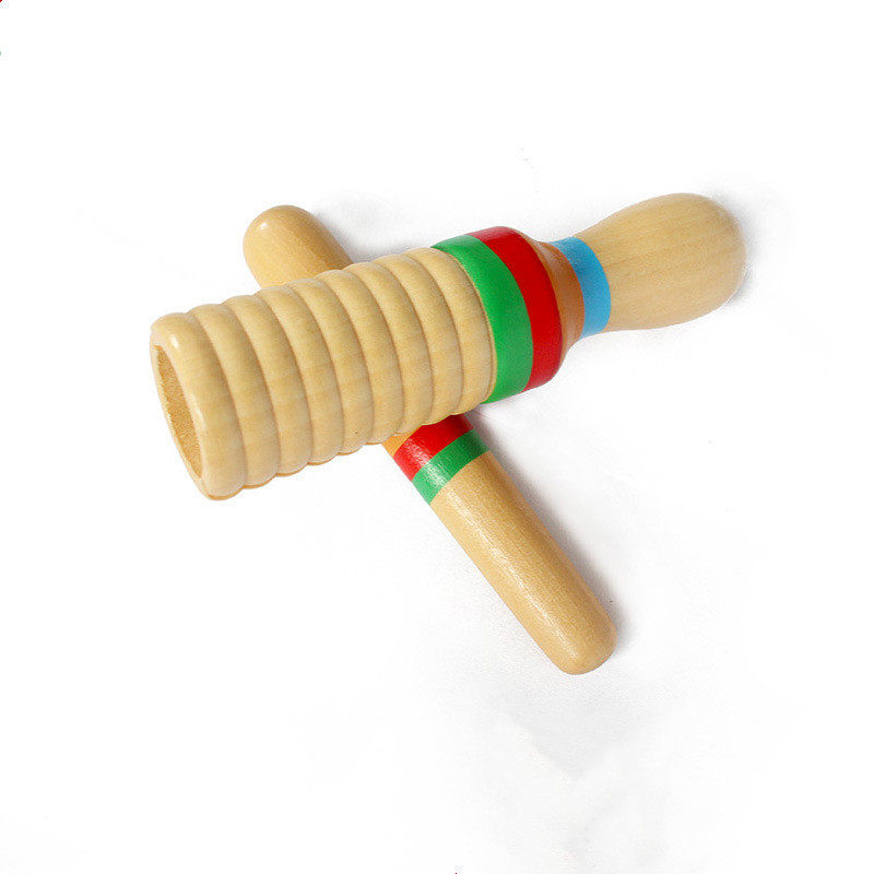 Kids Wooden Fish Shape Rhythm Drum Knocking Instruments Percussion Education Toy