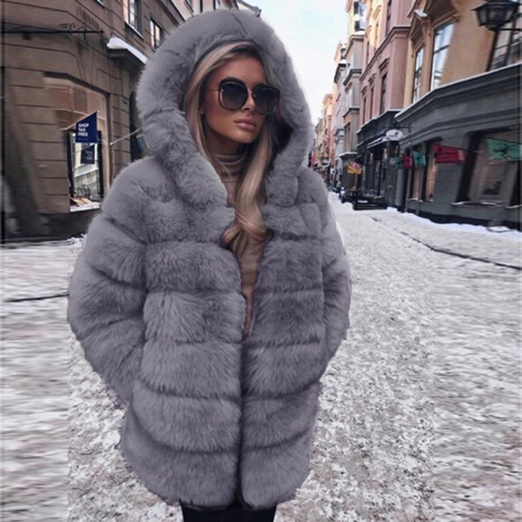 Coat Hooded Faux-Fur Winter Fashion Women Ladies Luxury Warm Autumn Solid-Color title=