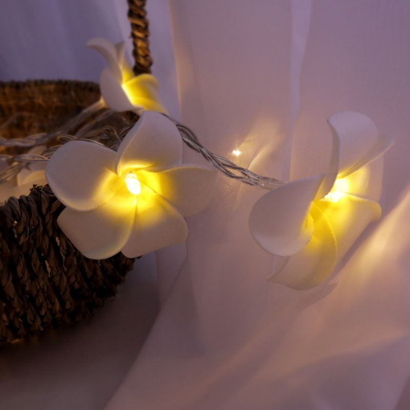 10/20/30/40 LED Plumeria Decorative String Lights Eggs Flower Lamp Christmas Wedding Holiday Party Garden Romantic Decor M0XD