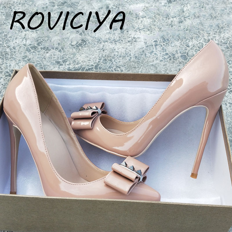 Nude Women Pumps Brand Women Shoes <font><b>12</b></font> cm High Heels <font><b>Sexy</b></font> Bow Pointed Toe High Heels Ladies Shoes MD003 ROVICIYA image