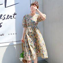 Women Midi Floral Cotton Dress Summer 2020 Runway Elegant Vintage Party Dress Korean Boho Retro Tropical Beach Vacation Dresses(China)