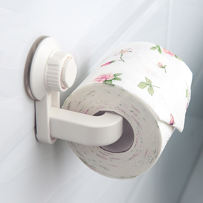 Suction Cup Rack Toilet Paper Holder Durable Wall Mounted Roll Paper Organizer Towel Rack Bathroom Tissue Holder