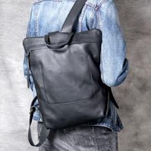 Retro Simple Style Men Cowhide Backpack Men's Designer Elegant Genuine Leather Bag