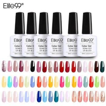 (6pcs)Elite99 Glitter Pure Gel Polish Kit Soak Off UV LED Nail Varnish 10ML Nail Polish Top Coat UV LED Soak Off Nail Art Gel