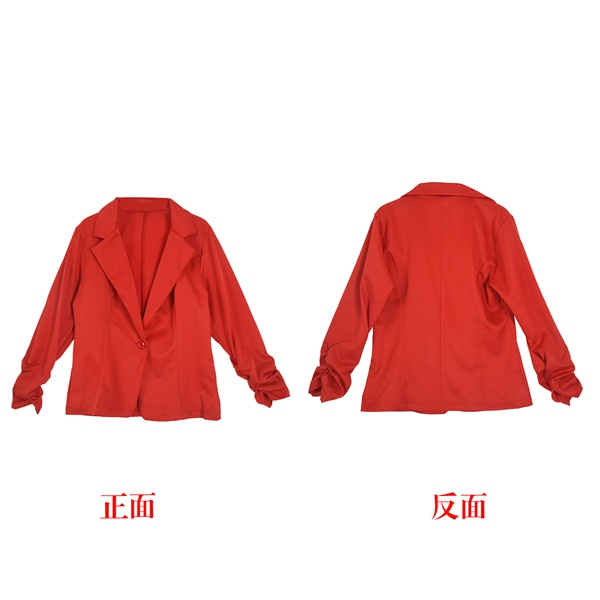Blazer Jacket Suit Candy-Button Long-Sleeve Work Casual Womens New Red Color Basic Size-L