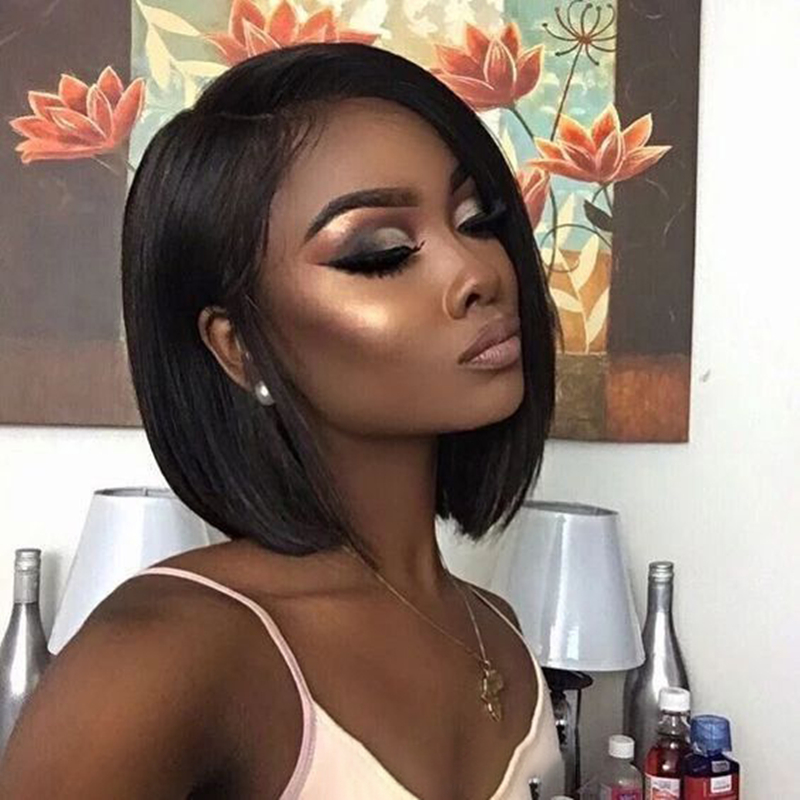 Funmi Hair Brazilian Short Straight Bob Wigs Lace Front Human Hair Wigs Cheap Machine-Made Human Hair Wig Pre-Plucked For Black