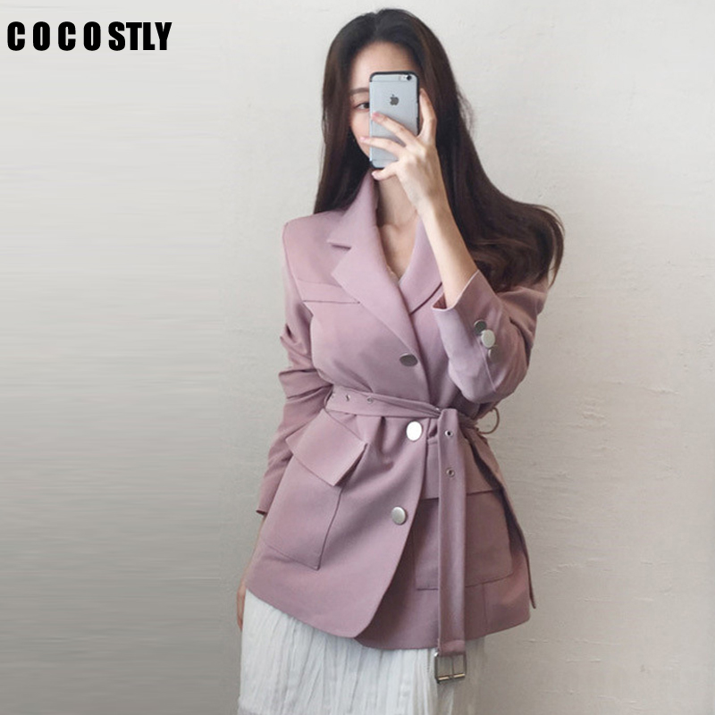 Blazer Feminino Women New Solid Notched Collar Long Sleeve Tops Korean Fashion Sashes Single Breasted Blazers
