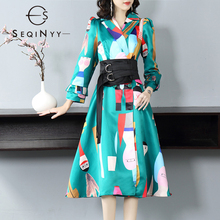 SEQINYY Autumn Winter Dress 2020 New Fashion Design Elegant Cartoon Printed Women High Quality Black Belt A-line Midi