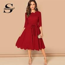 Sheinside, элегантное облегающее платье с зубчатыми краями, женское Бордовое платье с рукавом 3/4, однотонные платья-карандаш, женские вечерние платья, ночные дамы миди платье