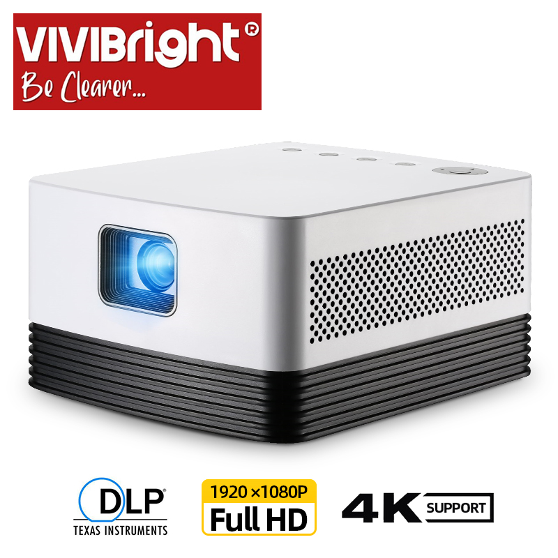 VIVIBRIGHT Projecteur Full HD J20, 1920*1080 P, Android WIFI, 18000mAH Batterie, Portable Projecteur DLP. Support 4K 3D Beamer
