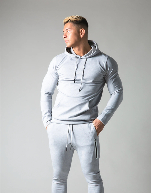 2021 New Men Cotton Hoodies Print Hoodies Sweatshirt Gym Fitness Hooded Pullover Man Casual Sportswear Brand Workout Clothing 3