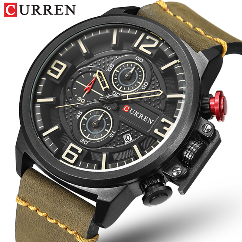 CURREN Chronograph Men's Casual Sport Quartz Watch Mens Watches Top Brand Luxury Leather Strap Military Watch Wrist Male Clock
