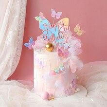 "Bilingสีสันผีเสื้อเลเซอร์ ""Happy Birthday"" เค้กTopperตกแต่งขนมหวานสำหรับวันเกิดของขวัญน่ารัก"