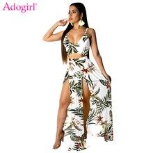 Adogirl Floral Print Two Piece Set Women Summer Beach Dress Spaghetti Straps Crop Top High Slit Maxi Skirt with Panties Suit random floral print sleeveless elastic waist slit hem maxi dress