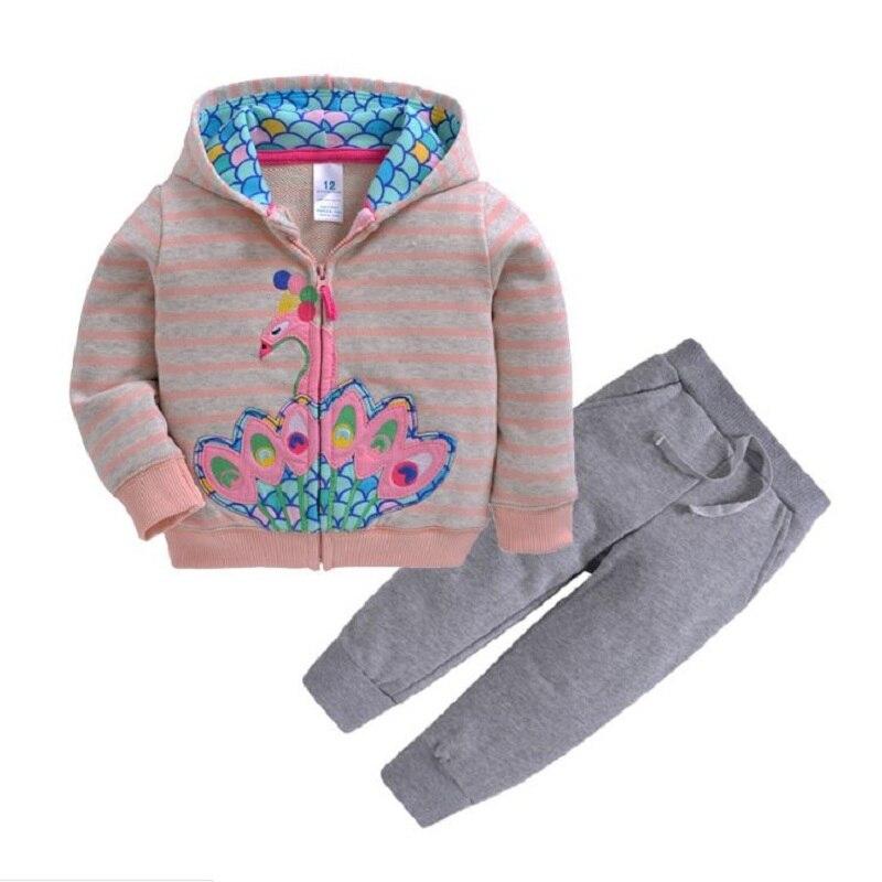 Одежда для маленьких девочек пальто с капюшоном с длинными рукавами и вышитым единорогом+ штаны, г. Весенняя одежда для маленьких мальчиков комплект для малышей, одежда для малышей - Цвет: 17