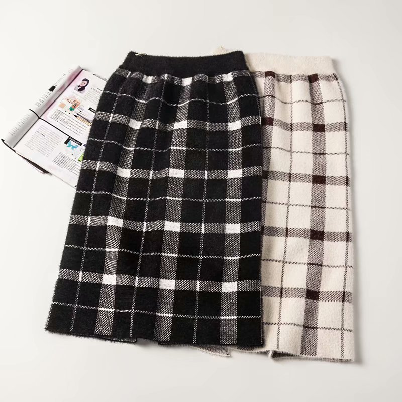B2135 Korean-style WOMEN'S Wear 2018 Autumn And Winter New Style High-waisted Plaid Slit Knitted Overskirt