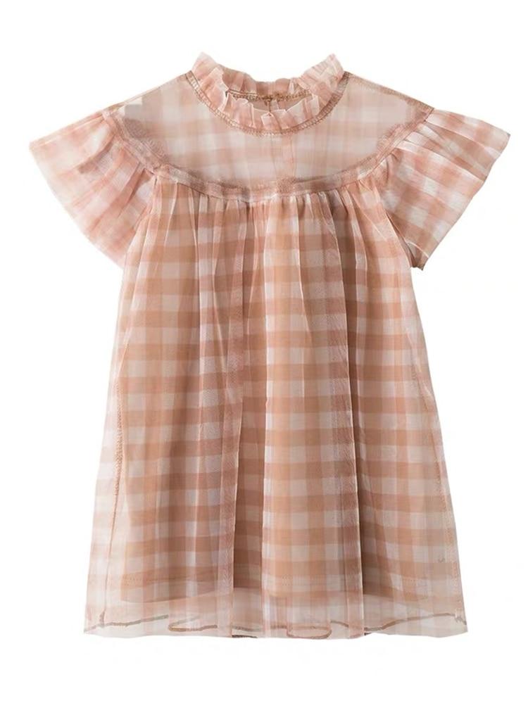 Image 5 - Платье для маленьких девочек летнее милое платье в клетку для дня рождения кружевное платье феи в стиле пэчворк милое платье для маленьких девочекСочетающаяся одежда для семьи   -