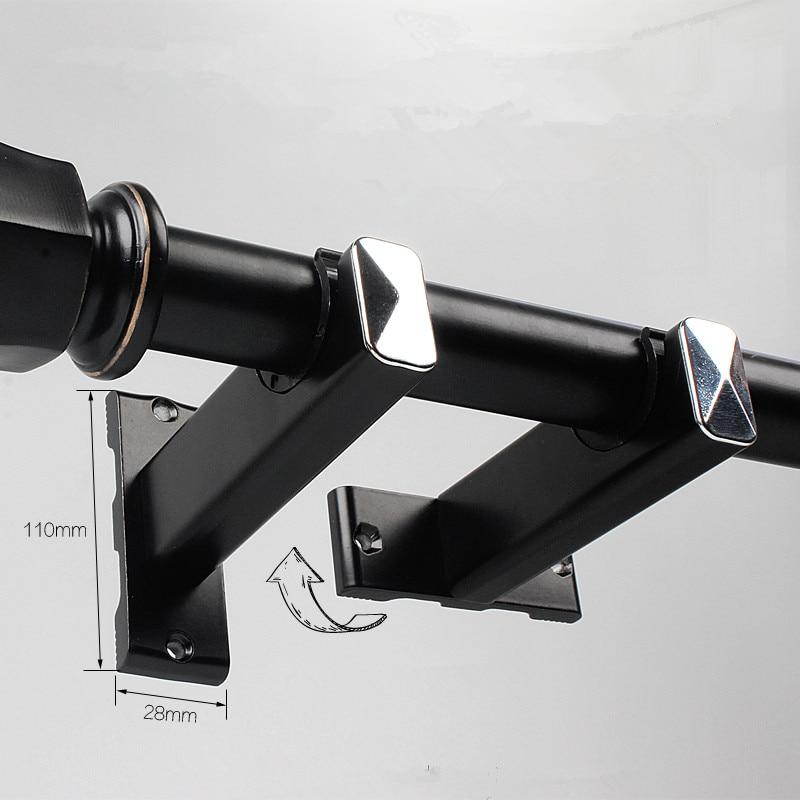 double single curtain rod holder curtain rods brackets aluminum alloy track holder base rotate wall side curtains rod