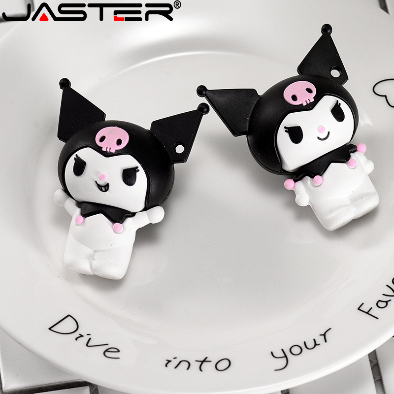 JASTER  Ornament USB Flash Drive Cartoon USB2.0 Kuromi 4GB 8GB16GB32GB64GB 128GBstorage Cute Cartoon Doll Bulk Gift Silica Gel