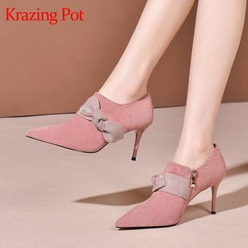 Krazing pot kid suede pointed toe thin high heels butterfly-knot decoration pink sweet gentlewomen dating early spring shoes L09