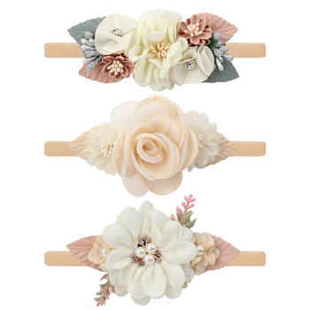 3Styles Baby Pearl Artific Flower Headbands for Girls Newborn Hairbands Nylon Elastic Toddler Handmade Floral  Infant Hair Bands - discount item  35% OFF Kids Accessories