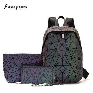 Image 5 - Luminous Backpacks Women Geometric Laptop Backpack For Men Shoulder Backpack School Holographic Rucksack Female Trave School Bag