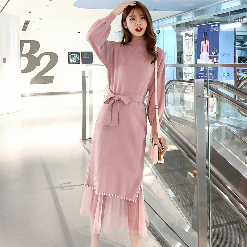 Women Autumn Winter Elegant Office Casual Set Female Solid Midi Knit Sweater Dress+High Waist Pleated Lace Skirt Sets With Belt