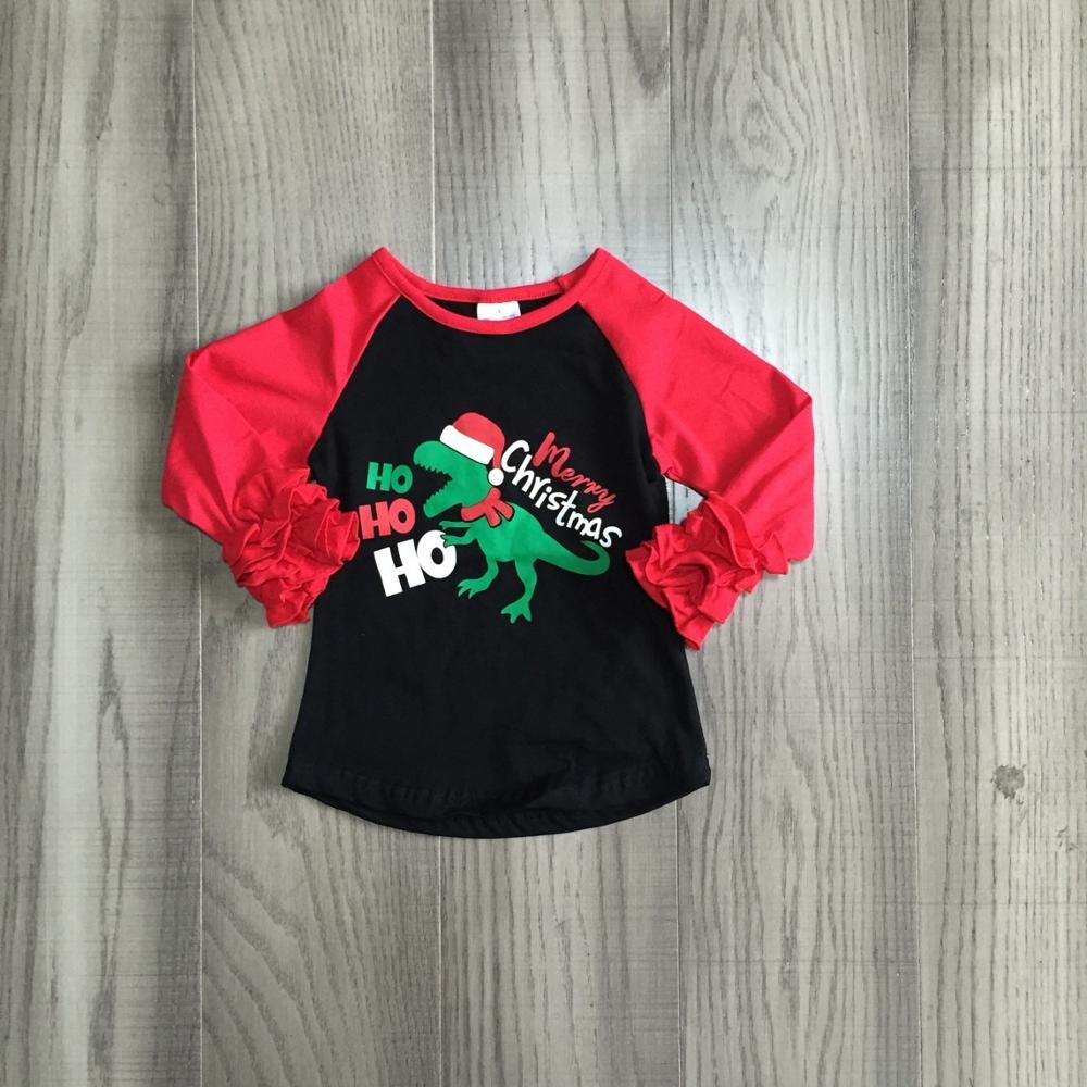 Girlymax Fall/Winter Christmas Dinosaur Cotton Milk Silk Top Long Sleeve T-shirt Baby Boys Girls Raglan Boutique Kidswear hohoho 2