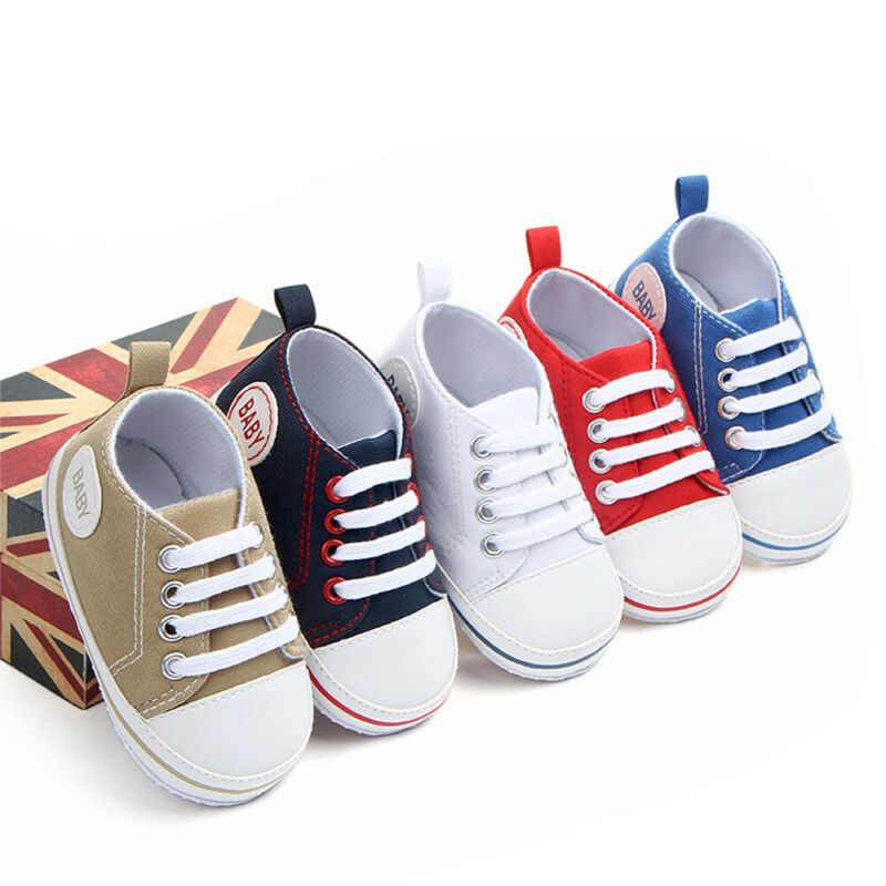 Stylish Soft Sole Newborn Baby Shoes Boys Girls Canvas Cloth Lace Up Shoes Pre-Walker White Crib Shoes Sneakers 0-18 Months