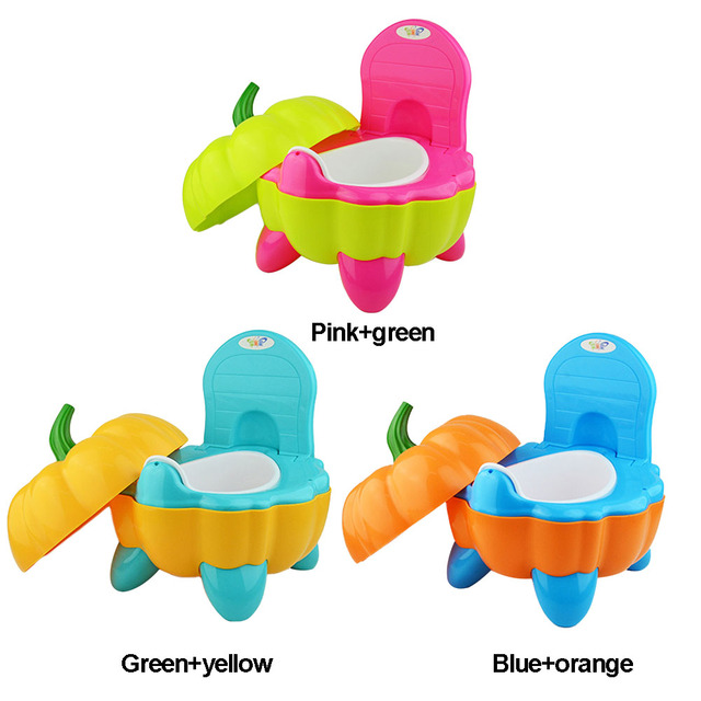Cute Cartoon Potty Plastic Folding Toddler Chair Toilet Seat Pumpkin Baby Training Portable | Happy Baby Mama