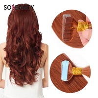 Sobeauty Tape Hair Extensions Remy Hair Extension Adhesive Highlight Color 33#Weft Hair Extension 20pcs/Pack 18inch Indian Hair