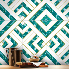 10Pcs Geometric Tile Sticker Waterproof Wear-Resistant Marble Matte 3D Wall Home Decoration Supplies