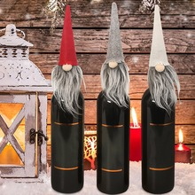 Wine Bottle Cover Toppers Santa Claus Hat With Snowy Christmas For Festival Party Gift Tableware цена