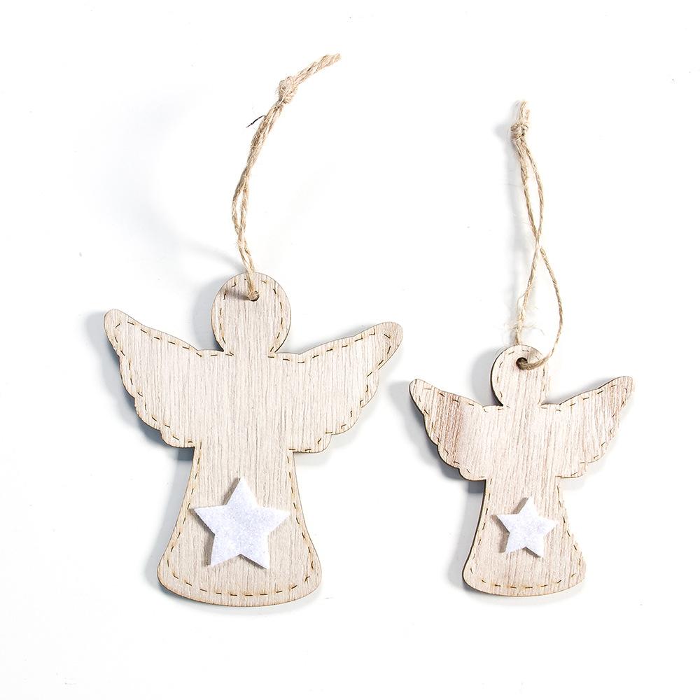 2pcs New Year 2020 Gift Natural Wooden Christmas Tree Pendants Christmas Ornaments Decorations for Home Adornos De Navidad 2019 28