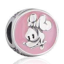 Original 925 Sterling Silver Bead Charm Pink Enamel Cartoon Mouse Minnie With Crystal Beads Fit Women Pandora Bracelet & Necklace Diy Jewelry(China)