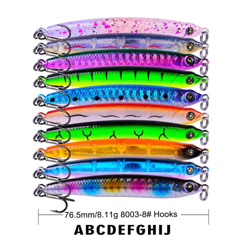 7.6 ซม.8.11g sinking minnow ดินสอเหยื่อตกปลา wobblers เหยื่อ hard โลหะ hardbait ประดิษฐ์เหยื่อ wobbler jigging ตกปลา