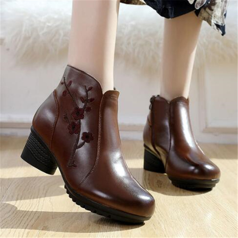 New Delicate Flowers Fashion Boots Mother Shoes Genuine Leather Boots Ankle Boots Non-slip High Heel Shoes 5 Cm Autumn Boots Women Shoes Women's Boots