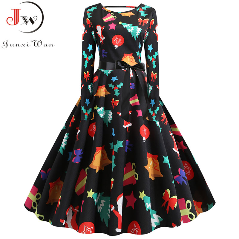Women Autumn Vintage Christmas Dress Casual Print Long Sleeve Pin Up Vestidos Evening Party Rockabilly Winter Dress Plus Size
