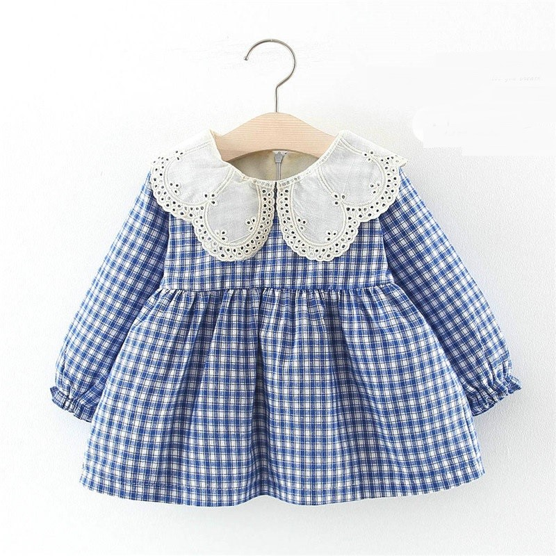 Winter Baby Girls Plaid Print Long Sleeve Doll Collar Thick Fleece Princess Party Kids Infant Pleated Dress vestido infantil