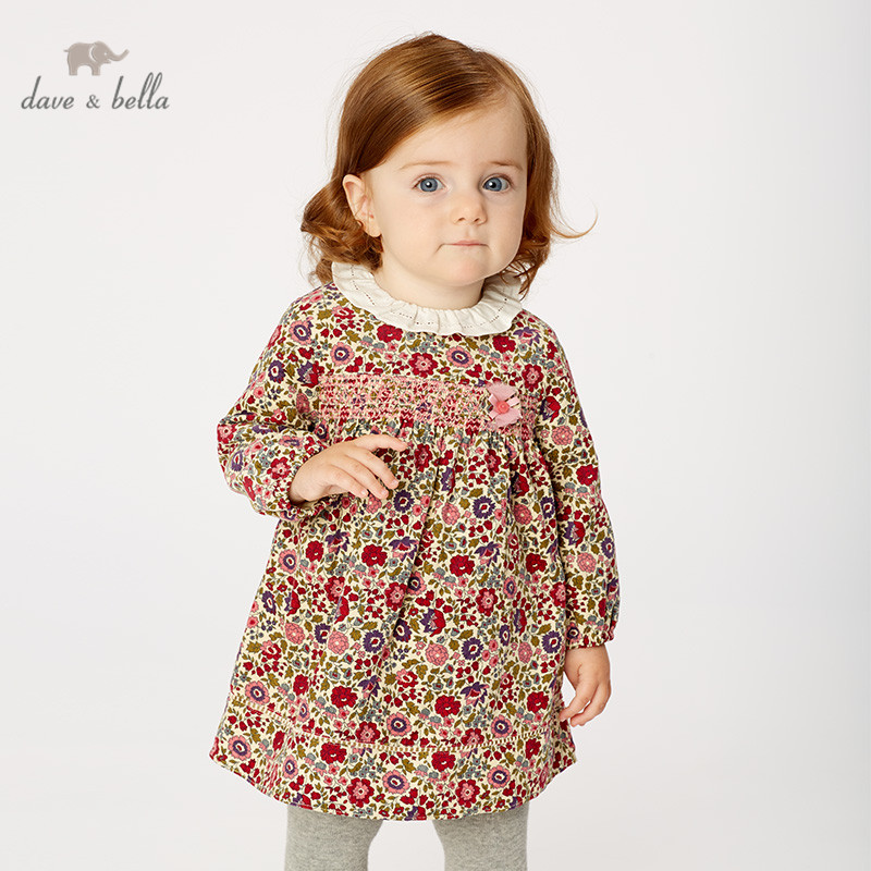 DB11470 Dave Bella Autumn Baby Girl's Princess Cute Floral Dress Children Fashion Party Dress Kids Infant Lolita Clothes
