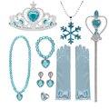 Аксессуары для девочек, перчатки и Корона Эльзы, набор ювелирных изделий, парик Эльзы, оплетка для платья принцессы, одежда, косплей, Снежная...