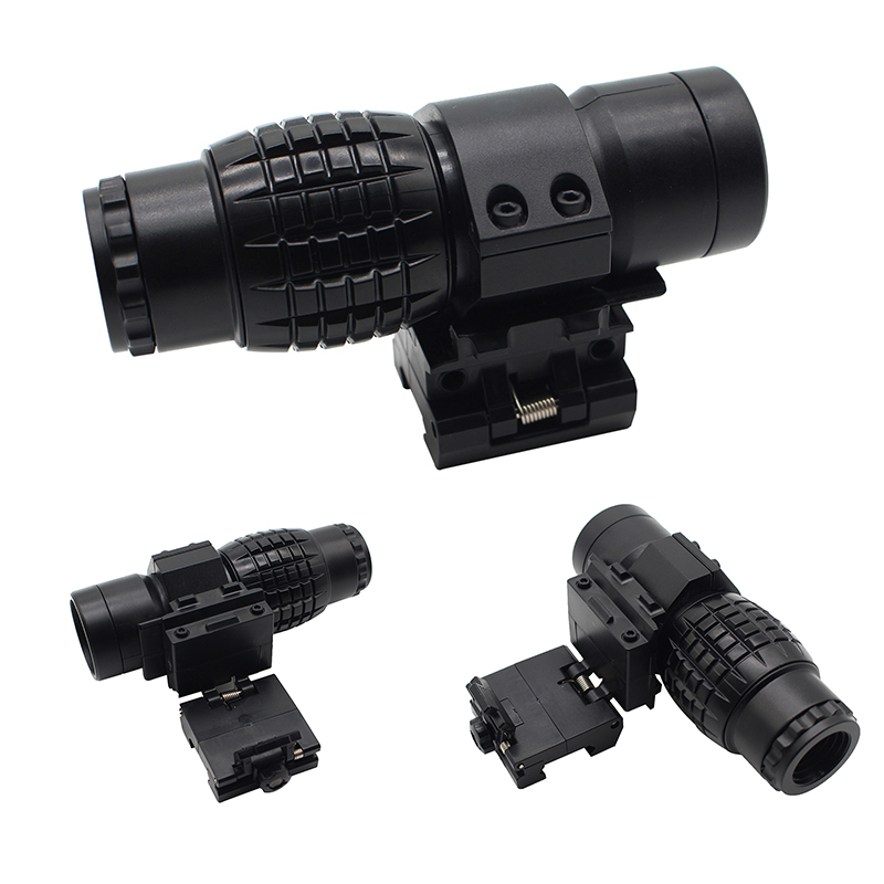 Sight 3X Magnifier Scope Compact Hunting Riflescope Sights With Flip Up Cover Fit For 20mm Rifle Gun Rail Mount Toys Telescope