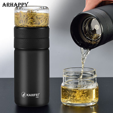 600ML Glass Bottle Tea Infuser  Stainless Steel Glass Tea Infuser Bottle Portable Leak Proof Thermos Bottle Tea with Filter