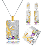 GEM'S BALLET Natural Blue Topaz Amethyst Gemstones Necklace Set 925 Sterling Silver Handmade Bamboo Set Women Fine Jewelry