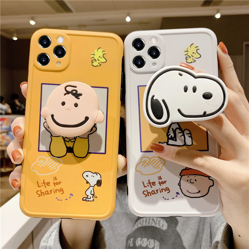 Cartoon Charlie Brown Dog 3D Holder Stand Protection Soft Phone Case For Iphone 12 11 Pro Max X XR XS 7 8 Plus Back Cover Fundas