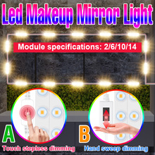 LED Makeup Mirror Light Bulbs USB 12V Hollywood Vanity Mirror With Light Makeup Dressing Table Lighting Dimmable LED Wall Lamp cheap NoEnName_Null CN(Origin) motion C Touch hand sweep mirror light USB Plug 2pcs 6pcs 10pcs 14pcs Nature White Support multiple power connections